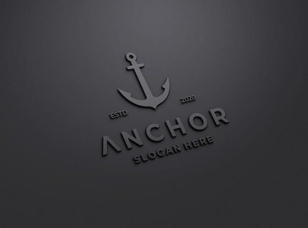 Embossed doff logo mockup on black wall