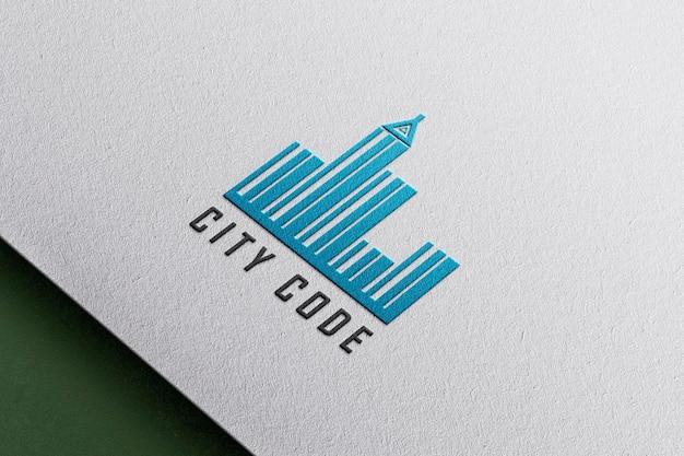 Embossed floating paper logo mockup