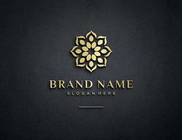 Макет тисненого золотого логотипа на фактурной коже