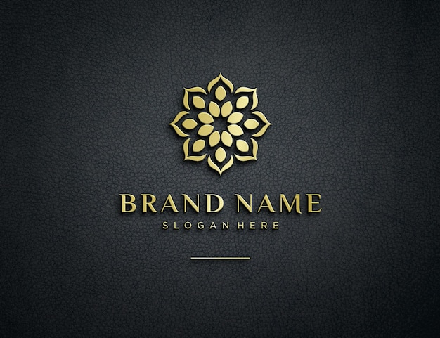 Embossed gold logo mockup on textured leather