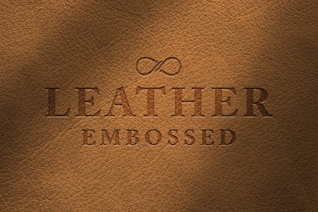 Макет логотипа с тиснением из кожи