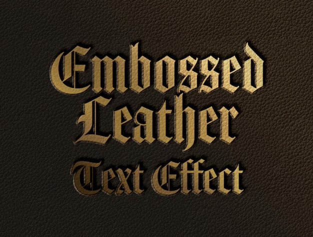 Embossed leather text effect template