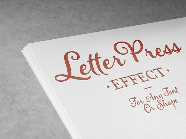 Embossed letterpress text effect