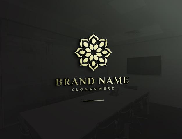 Embossed logo mockup on glass wall