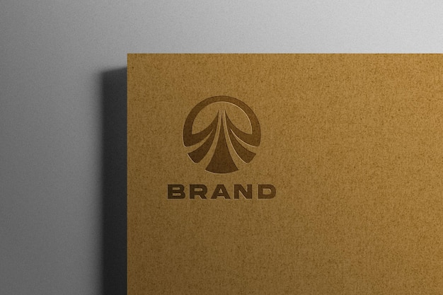 Embossed logo mockup on kraft paper