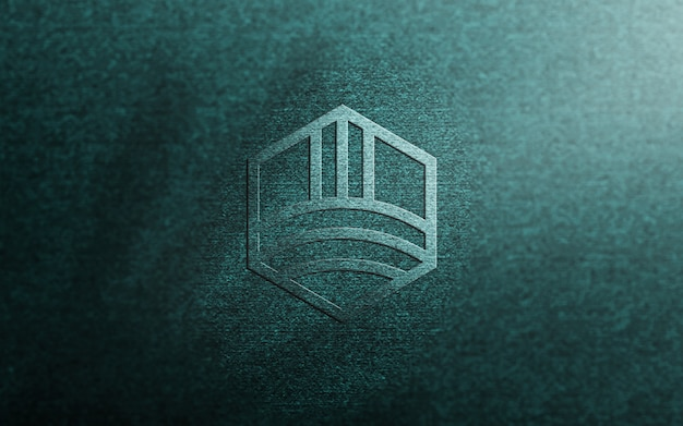 青い布にエンボスロゴのモックアップ