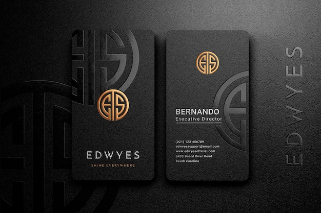 Embossed logo mockup on top view vertical business card