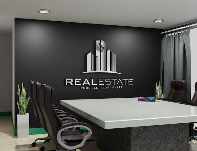 Embossed logo mockup on the wall of the room