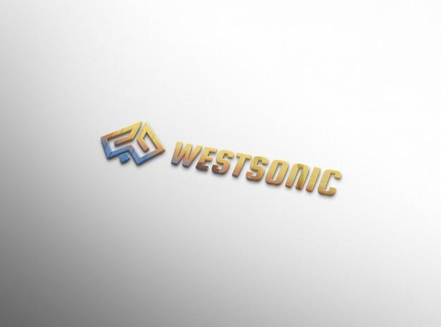 Embossed logo mockup on white wall