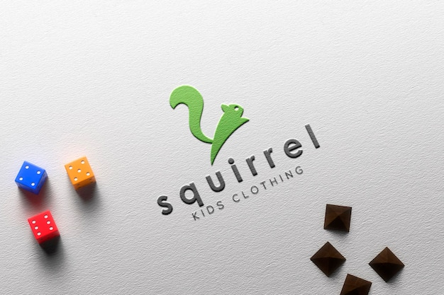 Embossed paper logo mockup with dices