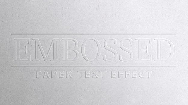 Embossed paper text effect