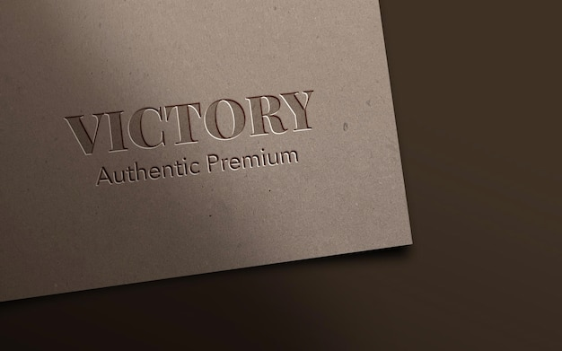 Embossed and pressed logo on paper mockup