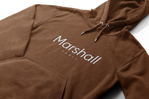 Embroidered logo mockup in hoodie
