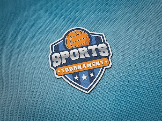 Embroidery logo patch mockup on jersey fabric