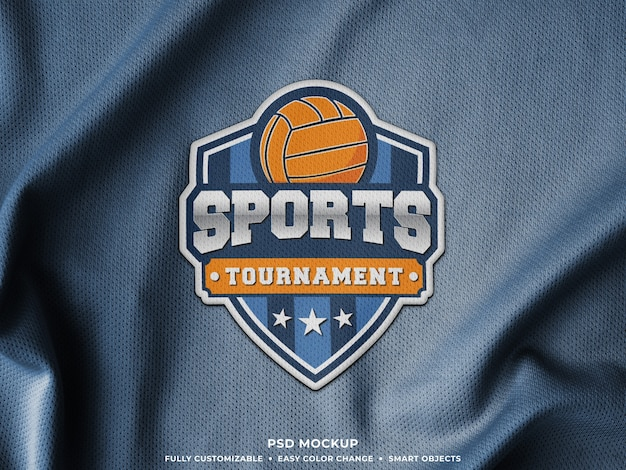 Мокап вышивки логотипа на ткани спортивного джерси