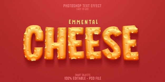 Emmental cheese 3d text style effect template