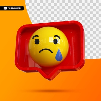 Emoji 3d social media sad for composition
