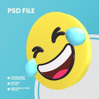 Emoji монета 3d-рендеринга изолированные катается по полу смеется