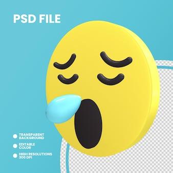 Emoji монета 3d-рендеринга изолированные сонное лицо