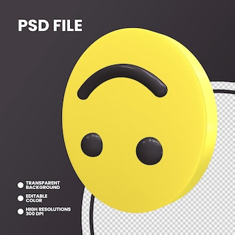 Emoji coin 3d rendering isolated upside down face