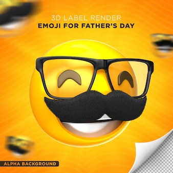 Emoji 아빠 레이블 아버지의 날 3d 렌더링 디자인