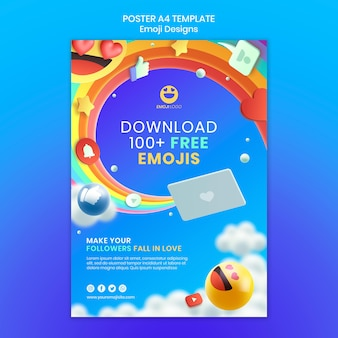 Шаблон плаката дизайна эмодзи