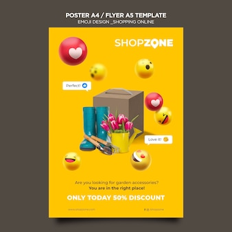 Emoji flyer a5 template