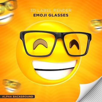 이모티콘 안경 레이블 3d 세우다 디자인