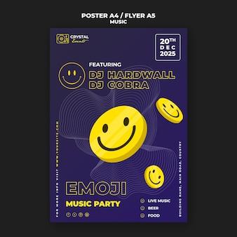 Emoji music party плакат и дизайн шаблона флаера