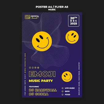 Emoji music party poster and flyer template design