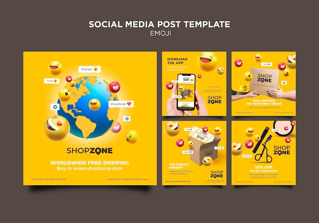 Emoji social media post template