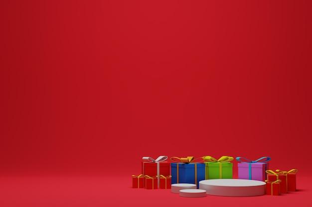 空の3dレンダリングされたクリスマスの表彰台のシーンとギフトボックスの背景