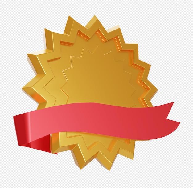 Пустая абстрактная золотая звезда с красной лентой изолированы