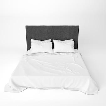 黒いベッドのヘッドレスト付きの空のベッドモックアップ