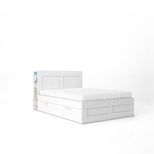 Empty bed with white mattress mockup