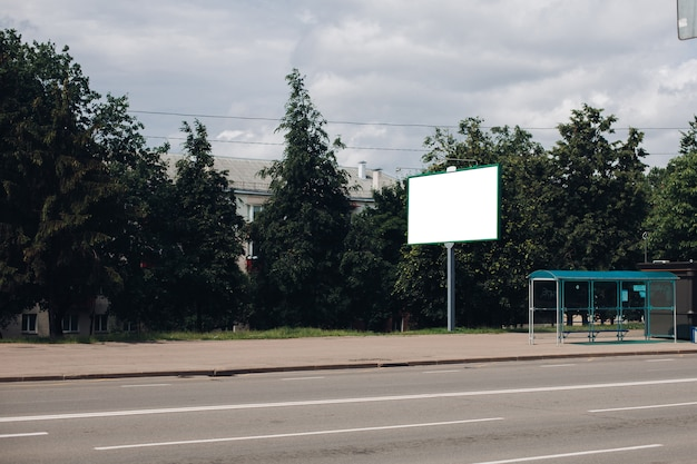 Empty billboard in the city