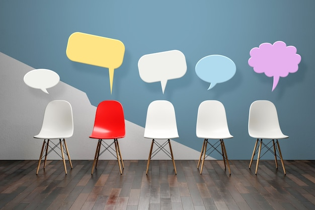 Empty chair and speech balloons mockup
