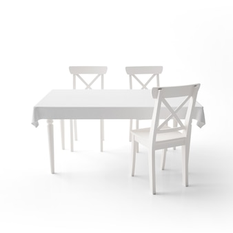 Empty dining table mockup with white cloth and modern chairs