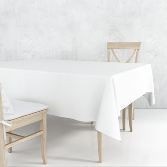 Empty dining table mockup with white cloth and wooden chairs
