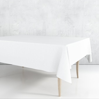 Empty dining table mockup with a white cloth