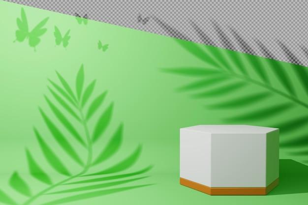 Пустой дисплей с тенью листьев в 3d-рендеринге