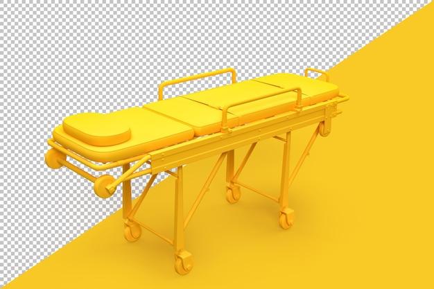 Empty emergency stretcher on yellow background