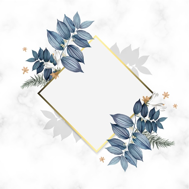 Empty floral golden frame design