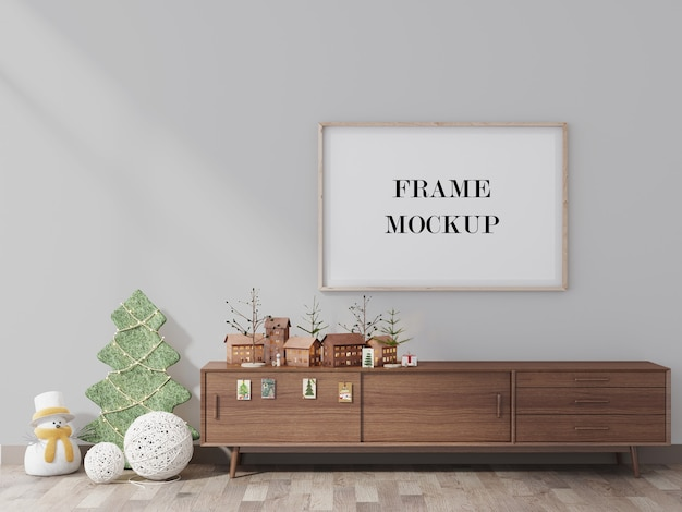 Empty frame mockup with christmas design 3d render