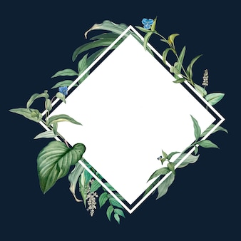 Empty frame with green leaves design