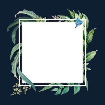 緑の葉のデザインと空のフレーム
