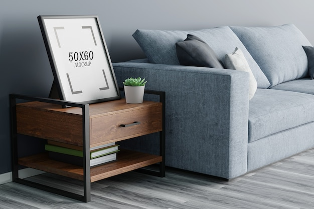 Empty frame on wooden table and sofa in living room 3d rendering