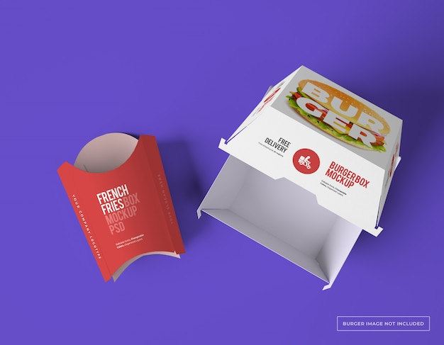 Empty french fries box with burger box package mockups