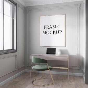 Empty gold frame mockup in art deco workroom