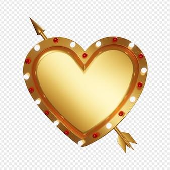 전구 빛과 고립 된 화살표와 함께 빈 황금 모양 사랑